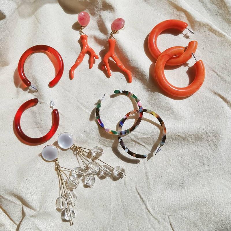 53mm Candy Hoop Earrings in Coral on kellinsilver.com