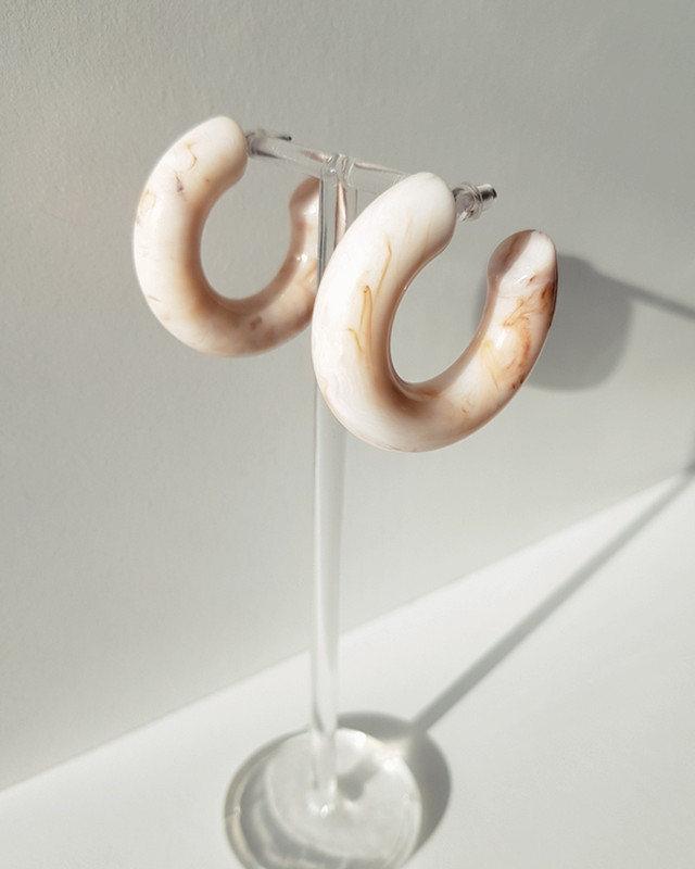 39mm Resin Hoop Earrings in Latte on kellinsilver.com