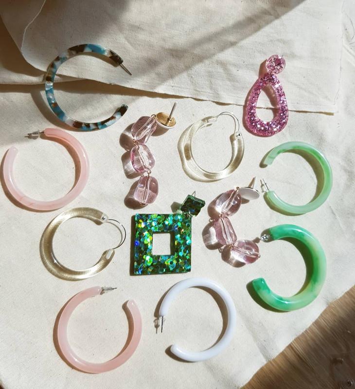 61mm Resin Hoop Earrings in Marbling Green on kellinsilver.com
