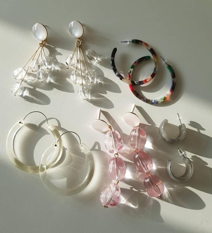 48mm Acrylic Thin Hoop Earrings in Multi on kellinsilver.com