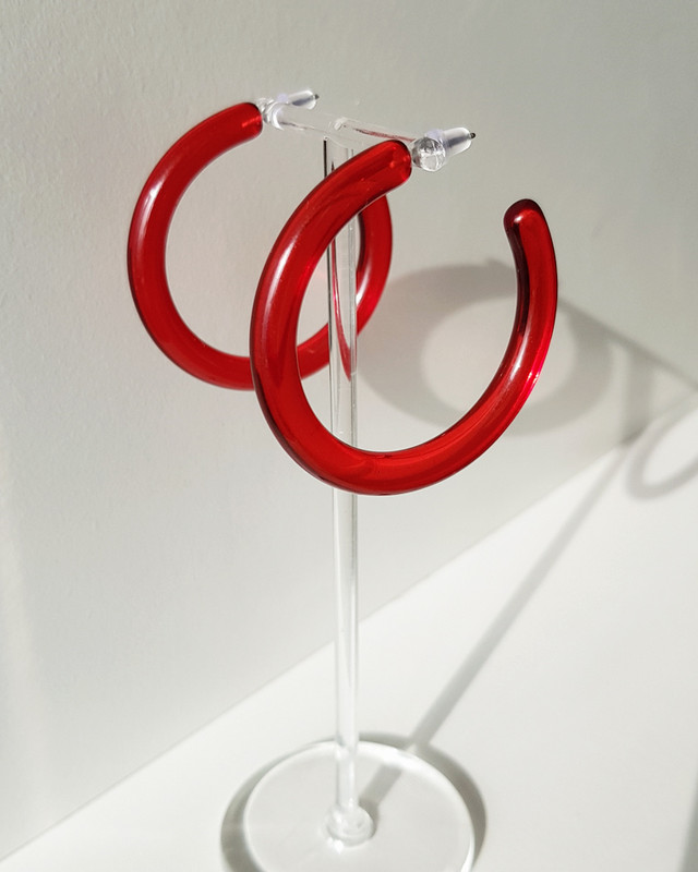 49mm Jelly Hoop Earrings in Red on kellinsilver.com