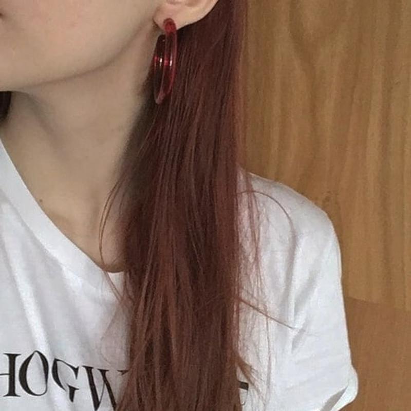 49mm Jelly Hoop Earrings in Red on kellinsilver.com