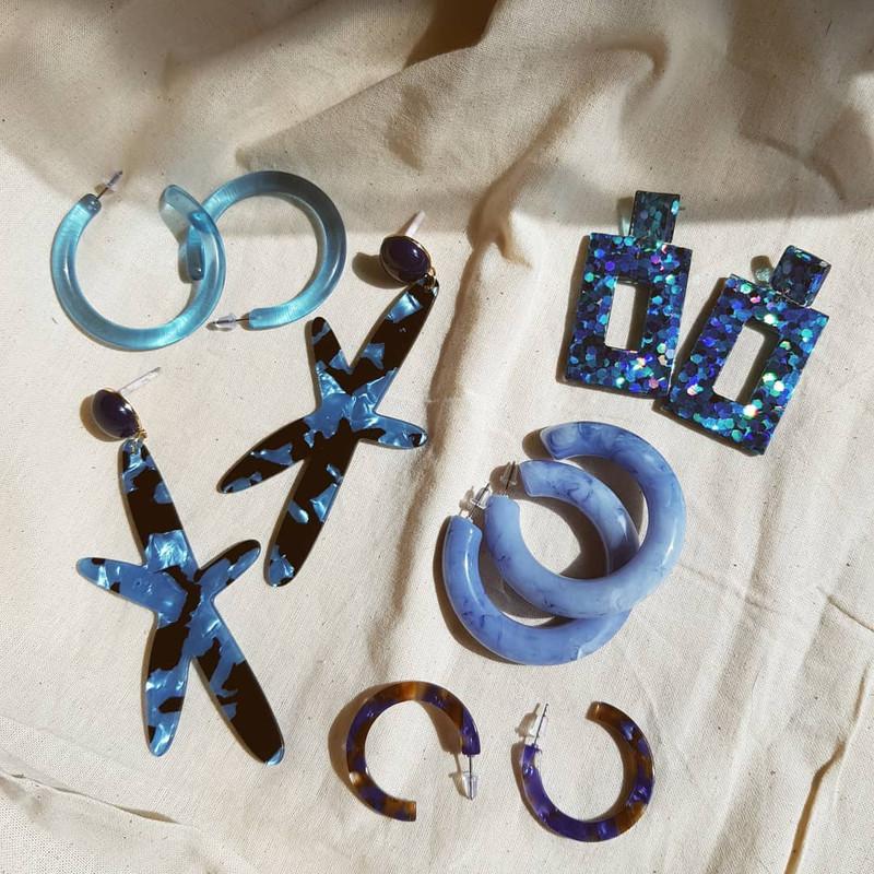 49mm Jelly Hoop Earrings in Blue on kellinsilver.com