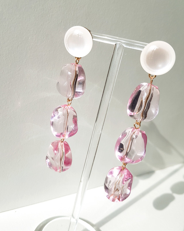 Statement Crystal Drop Earrings in Pink  on kellinsilver.com