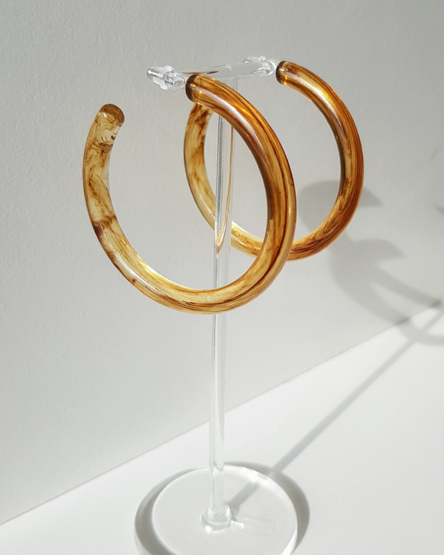 55mm Resin Hoop Earrings in Coffee on kellinsilver.com