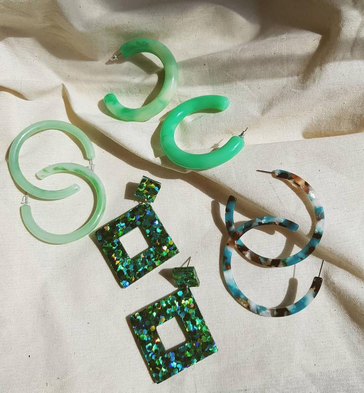 55mm Resin Hoop Earrings in Green on kellinsilver.com