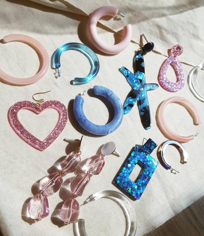 55mm Resin Hoop Earrings in pink on kellinsilver.com