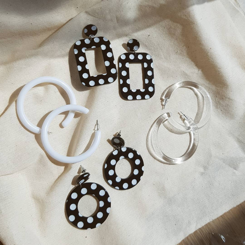Retro Dot Earrings in Rectangle on kellinsilver.com