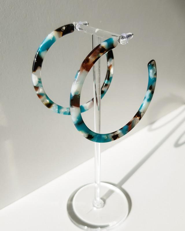 59mm Thin Hoop Earrings in Green on kellinsilver.com