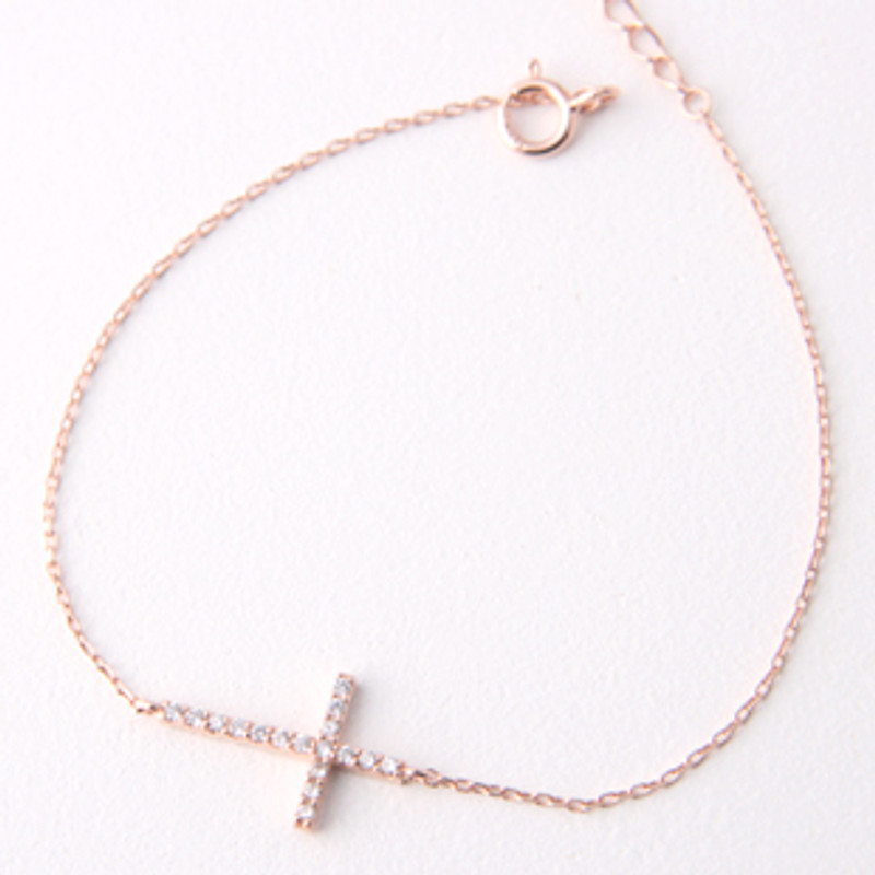 Sterling Silver Swarovski Sideways Cross Bracelet Rose Gold