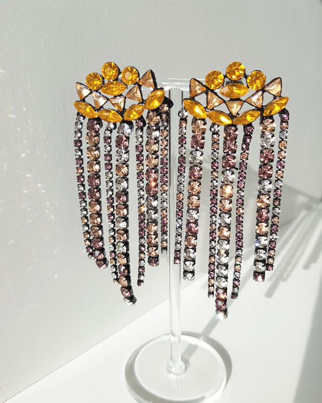 Zoe Rhinestone Earrings in Amber on kellinsilver.com