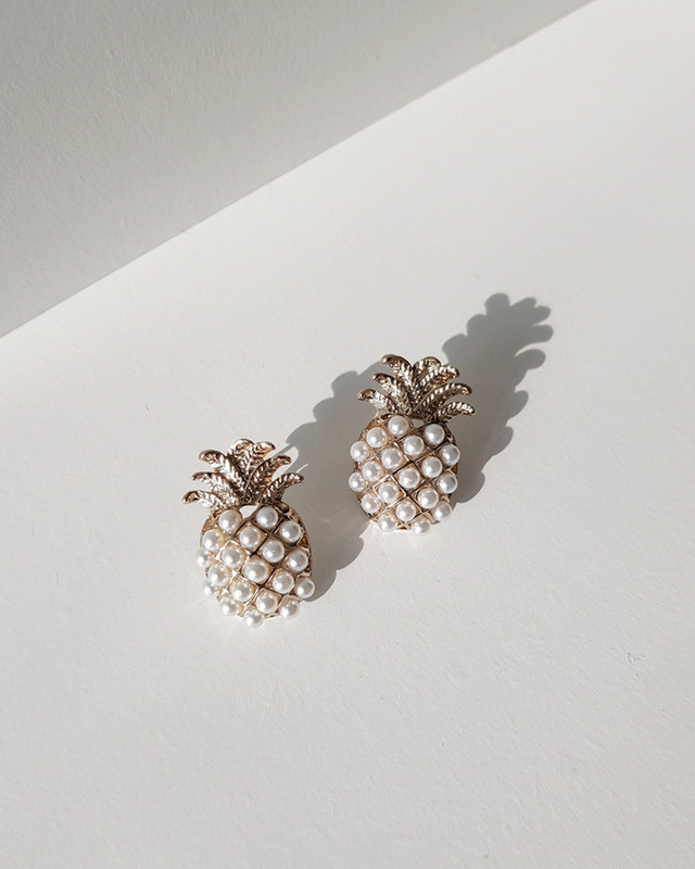 Pearl Pineapple Stud Earrings on kellinsilver.com