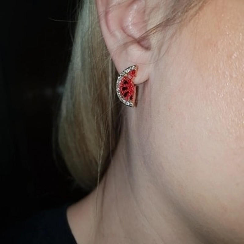 Small Watermelon Stud Earrings on kellinsilver.com