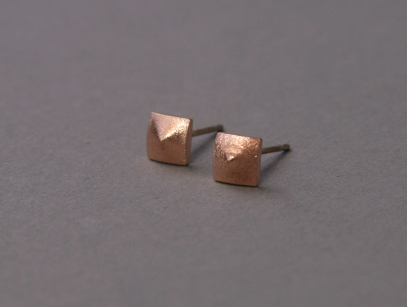 Matte Pyramid Stud Earrings Sterling Silver Post
