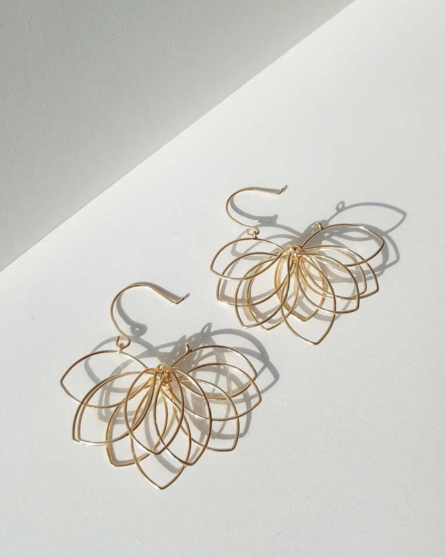 Gold Flower Silhouette Earrings on kellinsilver.com