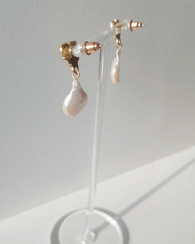 Tiny Heart Pearl Earrings on kellinsilver.com