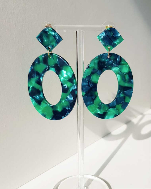 Maison Oval Earrings in Green on kellinsilver.com