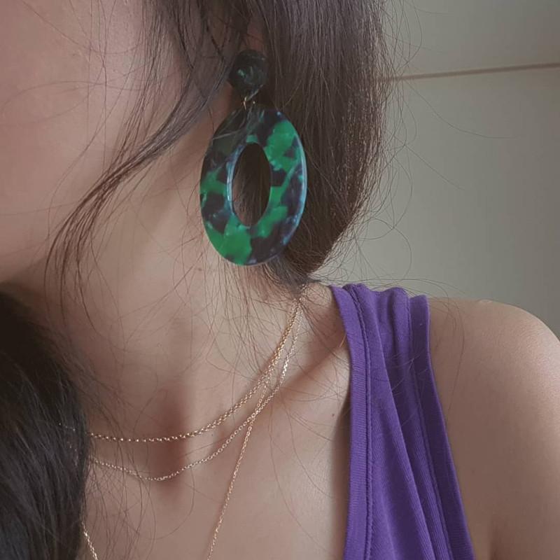 Maison Oval Earrings in Green on kellinsilver.com