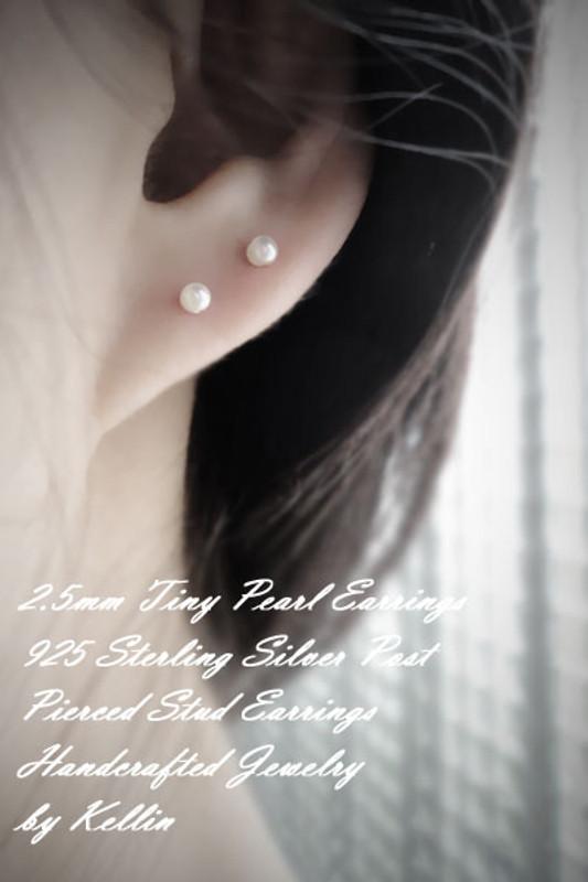 2mm Shell Pearl Stud Earrings Sterling Silver from kellinsilver.com