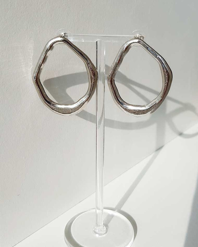 Geometric Oval Earrings on kellinsilver.com
