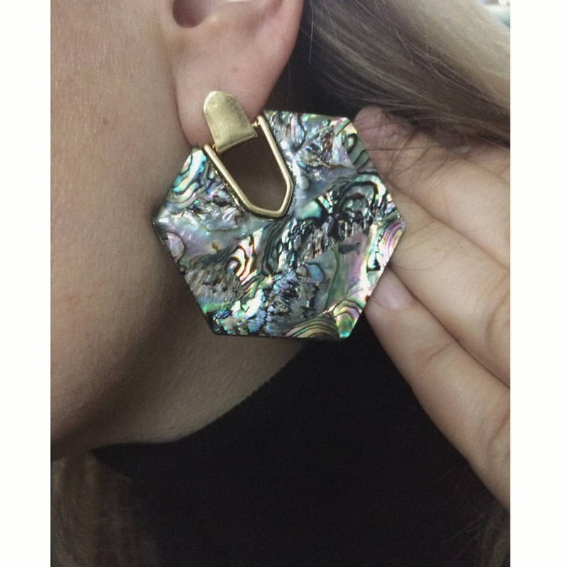 Abalon Hexagon Earrings on kellinsilver.com