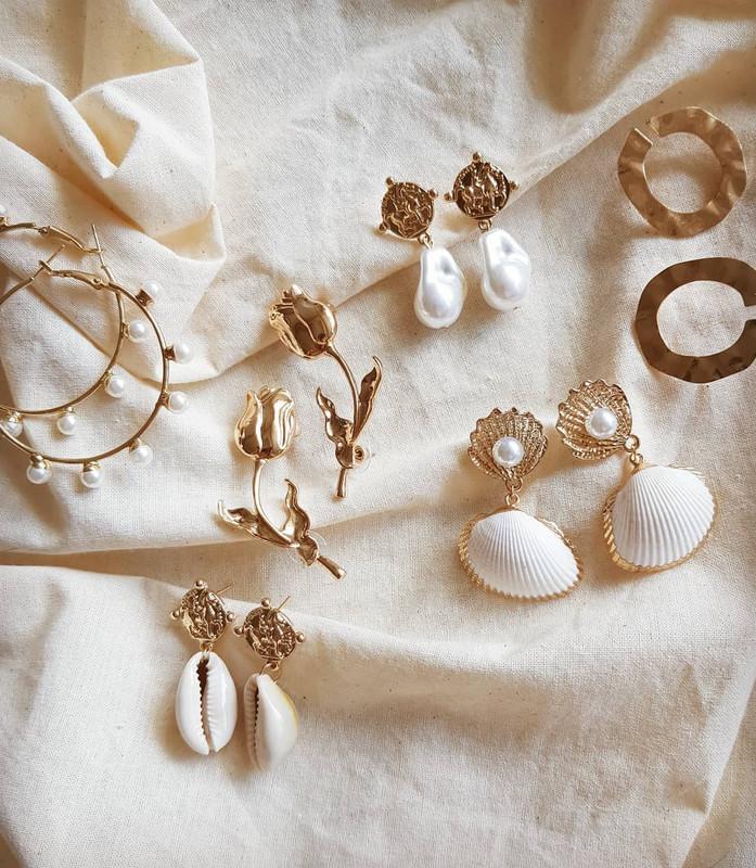 Vintage Coin Cowrie Earrings on kellinsilver.com