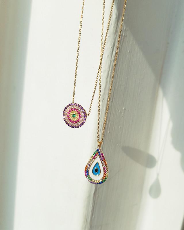 Evil Eye Rainbow Drop Necklace in sterling silver on kellinsilver.com