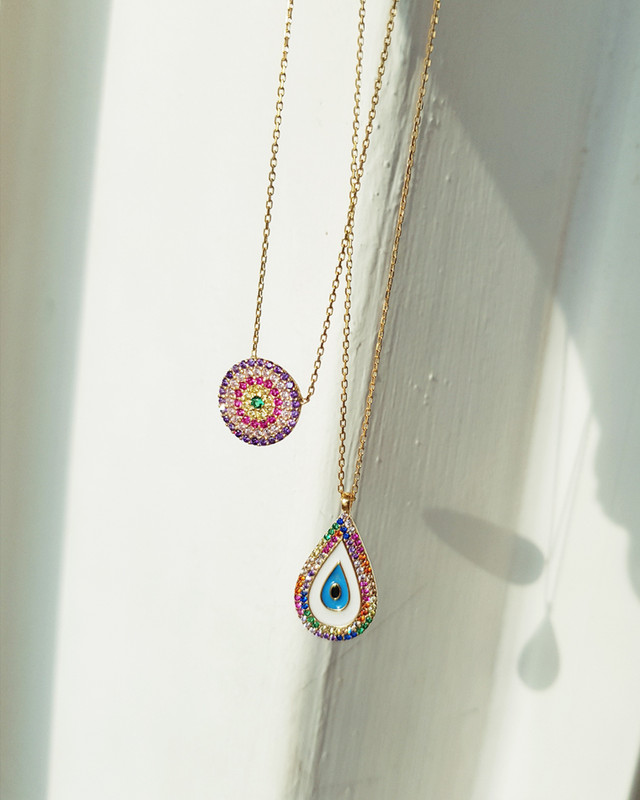 Purple Evil Eye Necklace in Sterling Silver from kellinsilver.com