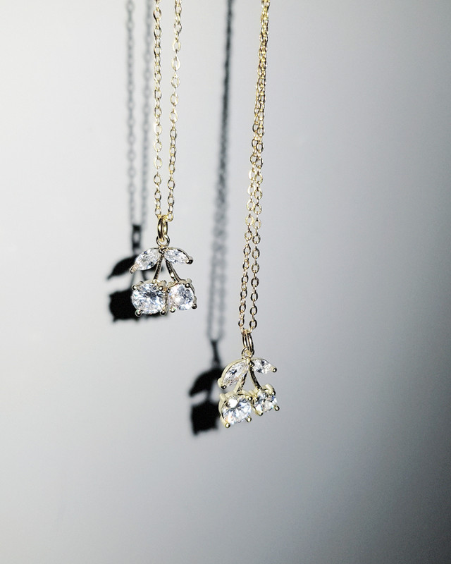 Gold Tiny Cherry Necklace in Sterling Silver on kellinsilver.com