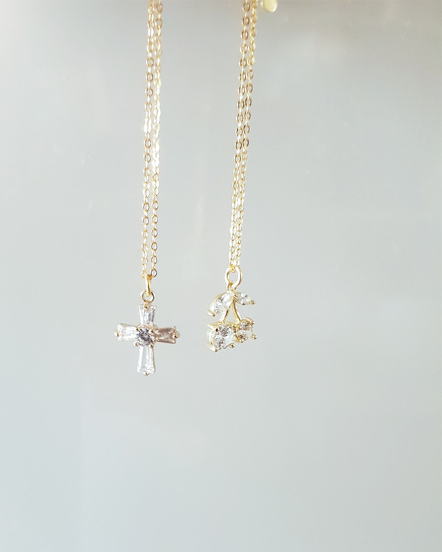 Gold Tiny CZ Cross Necklace in Sterling Silver