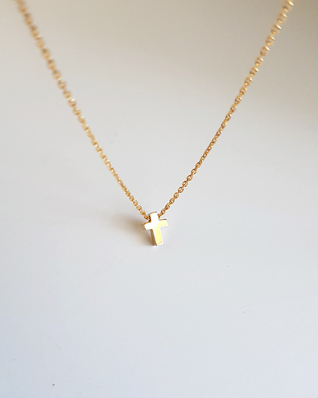 Gold Tiny Cross Necklace Sterling Silver on kellinsilver.com