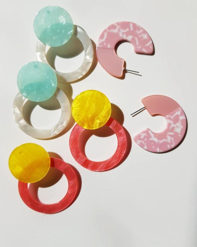 Angelina Acrylic Hoop Earrings in Pink  on kellinsilver.com