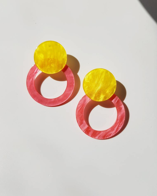 Angelina Acrylic Hoop Earrings in Pink  on kellinsilver.com