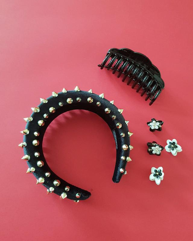 Hardcore Studded Padded Headband Hair Accessories on kellinsilver.com