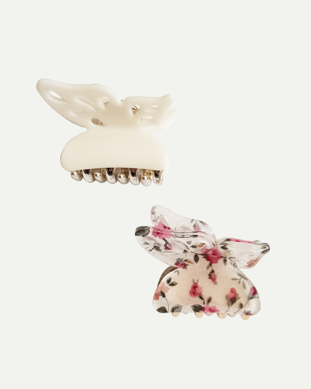 Butterfly Small Hair Claws Set of 2 in Cream on kellinsilver.com