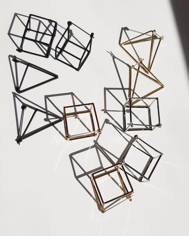 3D Geometric Triangle Square Earrings on kellinsilver.com