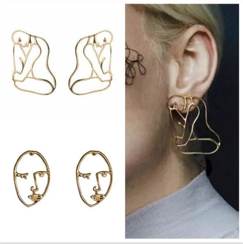 Artsy Female Body Silhouette Studs