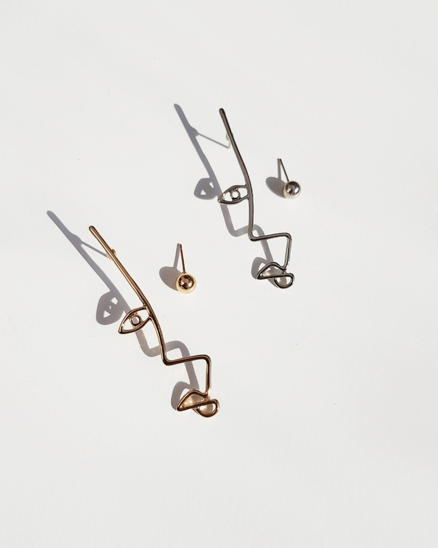 Asymmetrical Abstract Face Studs on kellinsilver.com