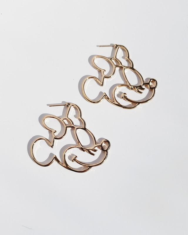 Cartoon Mouse Silhouette Earrings Gold on kellinsilver.com