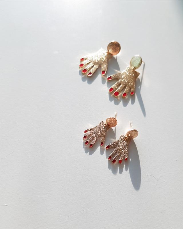 Red Nail Hand Earrings on kellinsilver.com