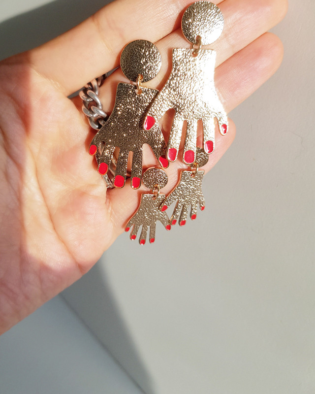 Red Nail Hand Earrings on kellinsilver.com