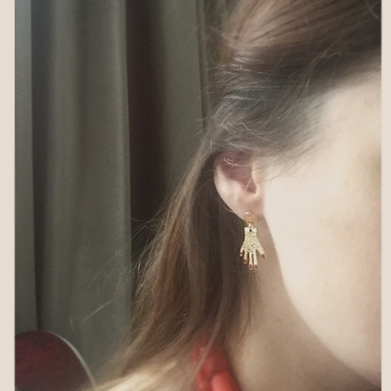 Red Nail Hand Earrings