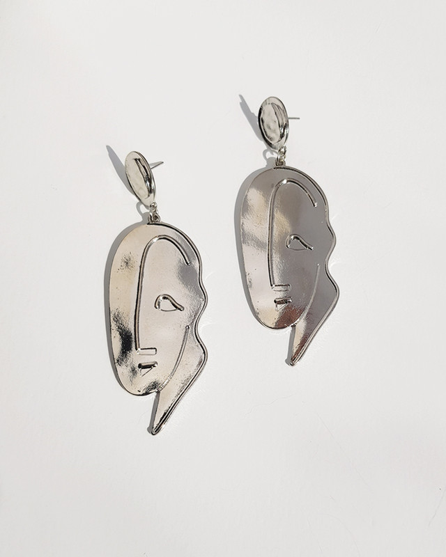Abstract Vintage Face Drop Earrings on kellinsilver.com