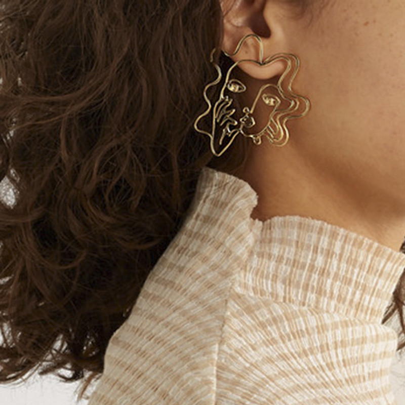 Perm Hair Women Abstract Earrings on kellinsilver.com