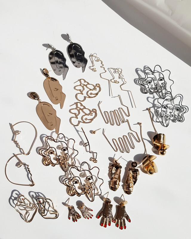 Perm Hair Women Abstract Earrings on kellinsilver.com