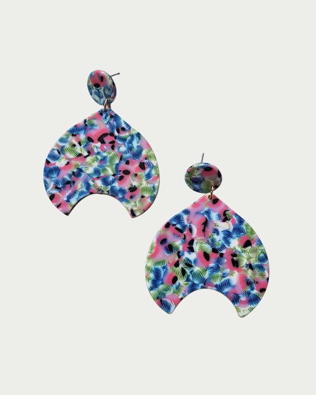 Pink Rapunzel Acrylic Drop Earrings on kellinsilver.com