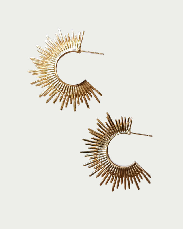 Gold Sun Spike Hoop Earrings on kellinsilver.com