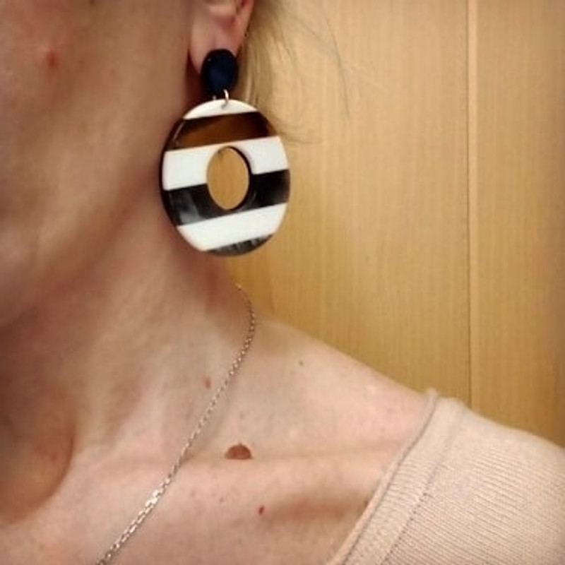 Bonitas Acrylic Circle Drop Earrings on kellinsilver.com