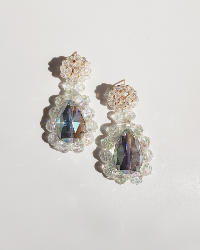 Reese Handcraft Beaded Earrings in Clear on kellinsilver.com