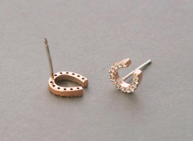 Swarovski Horseshoe Stud Earrings Rose Gold